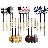 UZOPI 15 paquetes de dardos de punta de acero de 18 gramos con afilador de dardos y 3 vueltas extra, ejes de aluminio y barriles de latón, perfecto para todos los niveles en cada sala de estar, cueva de hombre, bar y sala de juegos