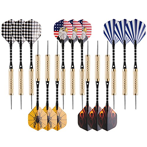 (UZOPI 15 Packs Steel Tip Darts 18 Grams with Dart Sharpener and 3 Extra Flights, Aluminum Shafts & Brass Barrels, Levels in Every Rec Room, Man Cave, Bar and Game Room)