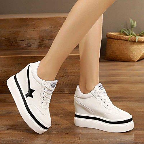 GTVERNH-En La Primavera Suela Gruesa Cuero Esponja Costura Zapatos Zapatos De Tacon Alto 10 Cm Corbata Ocio Aumento De black