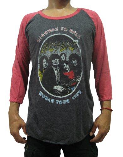 (Bunny Brand Men's AC DC World Tour 1979 Music Raglan T-Shirt (X-Large,)
