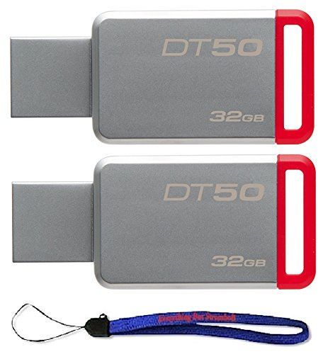 Kingston (TM) Digital 32GB (2 Pack) USB 3.0 Data Traveler 50 Flash Drive DT50, 110MB/s Read, 15MB/s Write Speed with Everything But Stromboli (TM) Lanyard (DT50/32GB)
