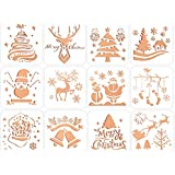 Christmas Painting Stencils Cute Christmas Trees Snowflake Jingle Bell Snowman Santa Claus Bullet Journal Stencil Spraying Templates for Christmas Card DIY Drawing Craft-12 pcs