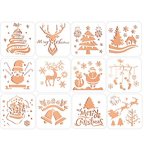 Card Templates Craft (Christmas Painting Stencils Cute Christmas Trees Snowflake Jingle Bell Snowman Santa Claus Bullet Journal Stencil Spraying Templates for Christmas Card DIY Drawing Craft-12 pcs)