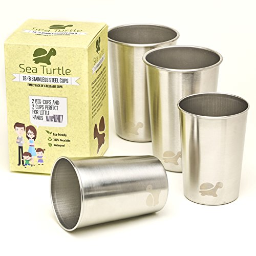 Stainless Steel Cups - Set of 4 Drinking Tumblers, 2 Sizes - Family and Kid Friendly, Pint Glasses, Eco-friendly, BPA-Free by - Glasses Rimmed Steel