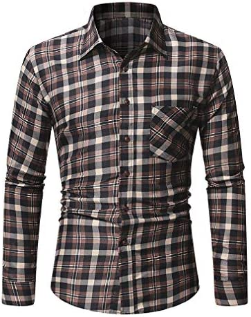 VITryst Men Casual Plaid Brushed Heavyweight Turn-down Collar Work Shirt