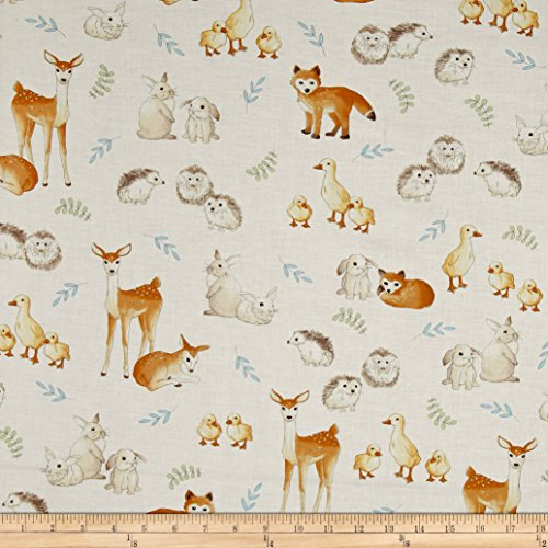 Kaufman Fawns & Friends Animals Natural Fabric By The Yard