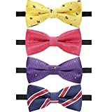 #4: Ausky 4 Packs Adjustable Pre-tied Bow Tie for baby boys Toddler Child Kids in Different style color