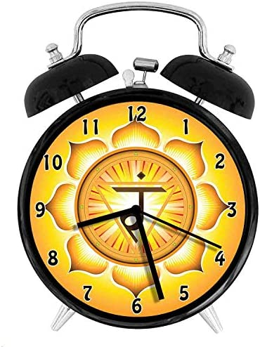 Manipura The Solar Plexus Chakra Honors The Life Force and Refers ConfidenceMetal Double Bell Alarm Clock, Family Bedroom Travel School Battery Operation Light 4in About 10cm