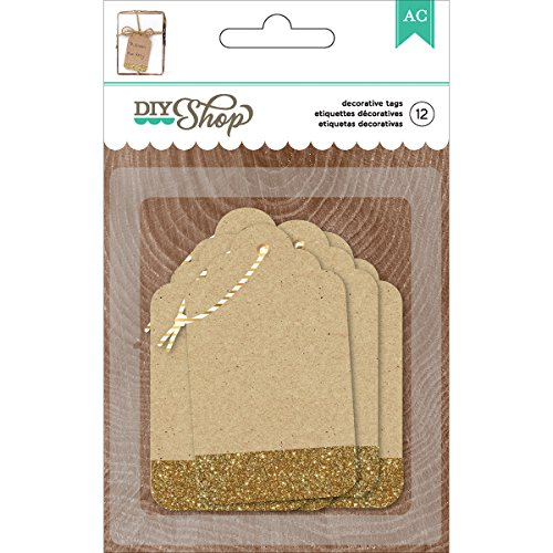 American Crafts DIY2 Glitter Kraft Tags, Gold