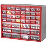 Akro-Mils 10744 44-Drawer Plastic Parts Storage Hardware and Craft Cabinet, 20-Inch by 16-Inch by 6-1/2-Inch, Red/Grey