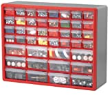 Akro Mils 10744 44-Drawer Hardware and Craft Cabinet, Red and Gray