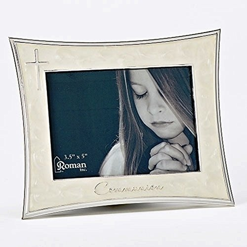 First Holy Communion Pearlescent 5.5 x 6.75 Metal Easel Back Picture Frame -