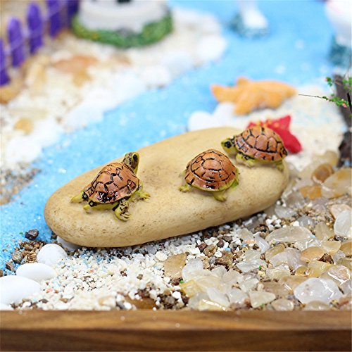 Danmu Mini Resin Tortoise and Rock Miniature House Fairy Garden Micro Landscape Home Garden Decoration Plant Pots Bonsai Craft Decor (Style 2)