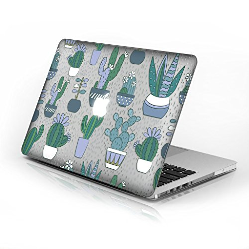 Rubberized Hard Case for Macbook Air 11 Inch model number A1370 and A1465, Green Cacti design with clear bottom case, Come with Keyboard Cover