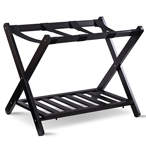 Black Luggage Rack (TANGKULA Luggage Rack Folding Wood Suitcase Stand Hamper Laundry Cloth Bag Shelf)
