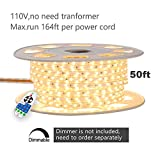 shine decor dimmable Led Strip Lights, Rope Light, High Voltage 110V-120V, SMD 2835 60Led/M, 50ft/roll, 3000K Warm White, with Plastic Tube Cover, Flexible Indoor/Outdoor use, Accessories Included