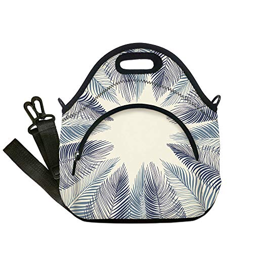 Insulated Lunch Bag,Neoprene Lunch Tote Bags,Palm Leaf,Hand Drawn Stylized Leaves Framework Floral Environment Theme Decorative,Slate Blue Dark Blue Beige,for Adults and children