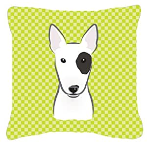"Caroline's Treasures BB1271PW1818 Checkerboard Lime Green Bull Terrier Pillow, 18"" x 18"", Multicolor"