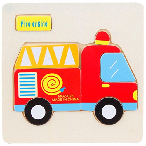 Yeefant Wooden Fire Truck Puzzle Slide Educational Developmental Jigsaw Interesting Toy Play Gift Game,Brain Games Wood Burr Tangram Jigsaw Training Toy,Safe Durable Gift for Kid Adult - Maple Educational Puzzle