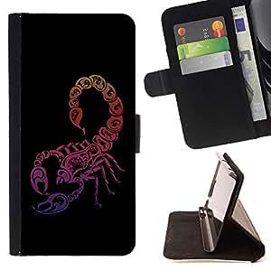 BullDog Case - FOR/Samsung Galaxy Note 4 IV / - / Neon Scorpion /- Monedero de cuero de la PU Llevar cubierta de la caja con el ID Credit Card Slots Flip funda de cuer