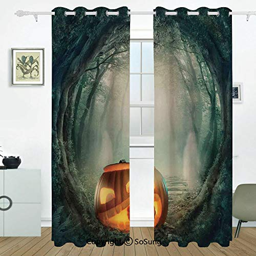 Halloween Decorations Grommet Blackout Window,Scary Halloween Pumpkin Enchanted Forest Mystic Twilight Party Art,for Bedroom&Living Room&Patio Sliding Doors,2 Panels Set,108 X 108 Inches,Orange Teal]()