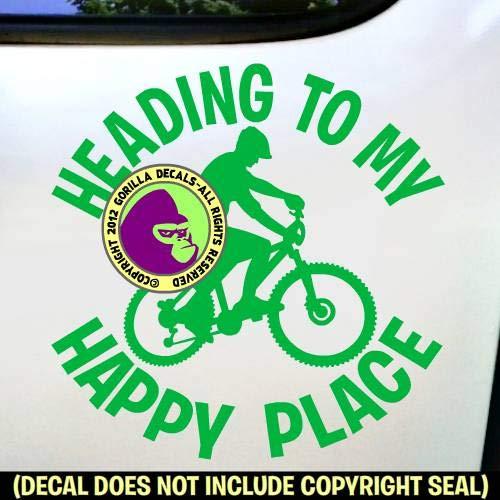 HEADING TO MY HAPPY PLACE MOUNTAIN BIKING Vinyl Decal Sticker F