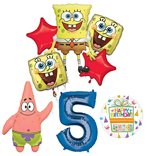 Spongebob Squarepants 5th Birthday Party Supplies and Balloon Bouquet Decorations]()