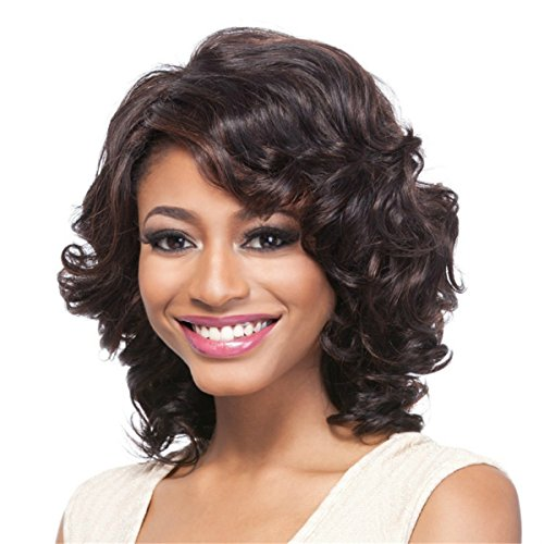 [YX Short Curly Hair Wig for Black Women African american Heat Resistant Synthetic Hair Wigs] (Curly Wigs For Black Hair)