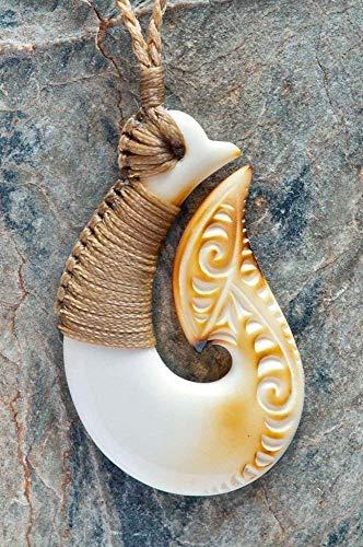 Maori Hand Carved Bone Matau (fish hook) Necklace from New Zealand ()