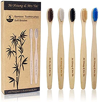 5 cepillos de dientes de bambú, cepillo de dientes de bambú ...