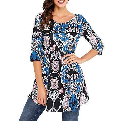 RedLife Women's Casual Tunic Blouses Floral Print Pleated Long Fit Tee Shirt Tops With 3/4 Sleeves (Medium, (3/4 Sleeve Floral Blouse)