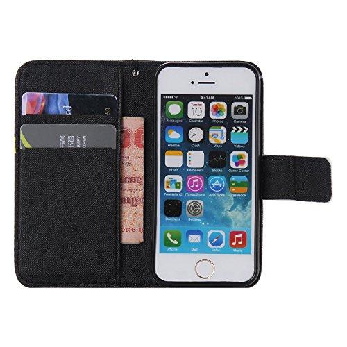 Laoke - Carcasa de silicona para teléfono móvil, cubierta pintada para iPhone 5/5S/SE de Apple + protector contra el polvo blanco 12 4