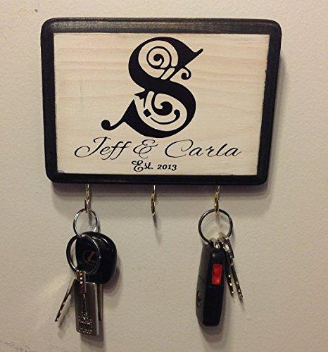 Personalized Wall Key Holder. Black Border, White Base wi...
