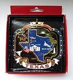 TEXAS ORNAMENT Large Brass State Landmarks Souvenir Gift