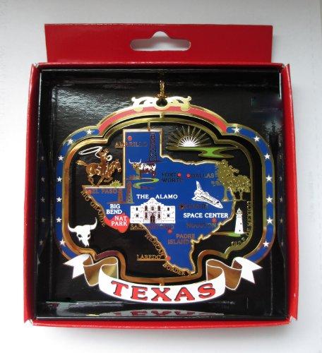 TEXAS ORNAMENT Brass State Landmarks Souvenir - Center City Worth Fort