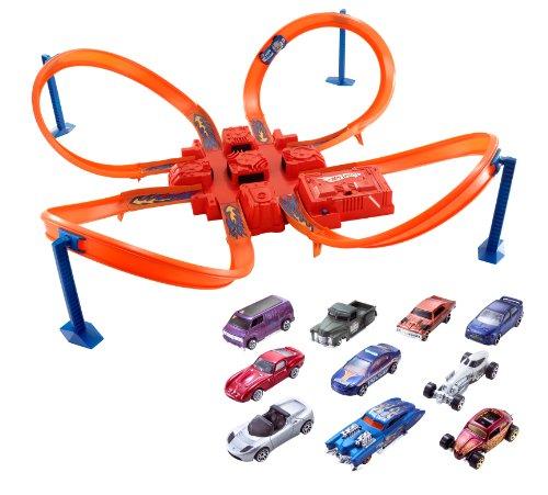 Hot Wheels Criss Cross Crash Track Set With 10 Car Pack Bund