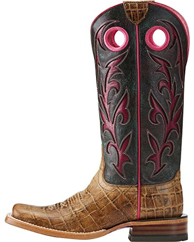 Ariat Women's Chute Out Croc Print Cowgirl Boot Square Toe Tan 8 M by Ariat (Image #1)