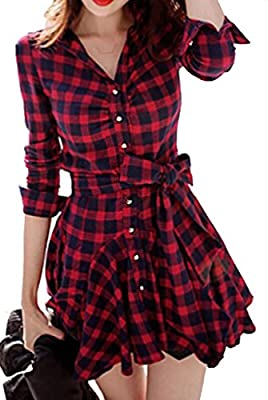 KLJR-Women Retro Long Sleeve Plaid V Neck Skirt Belted Casual Shirt Dress