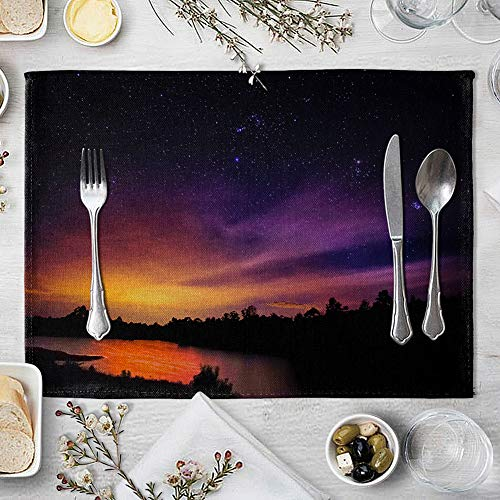 memorytime Night Starry Sky Linen Placemat Kitchen Dining Table Mat Bowl Pad Coaster Decor Kitchen Dining Supplies - 9# by memorytime (Image #1)