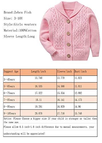 Zebra Fish Little Girls Sweaters Girls Button Up Sweater Long Sleeve Casual Girls' Knit Cardigan 3-4Y by Zebra Fish (Image #7)