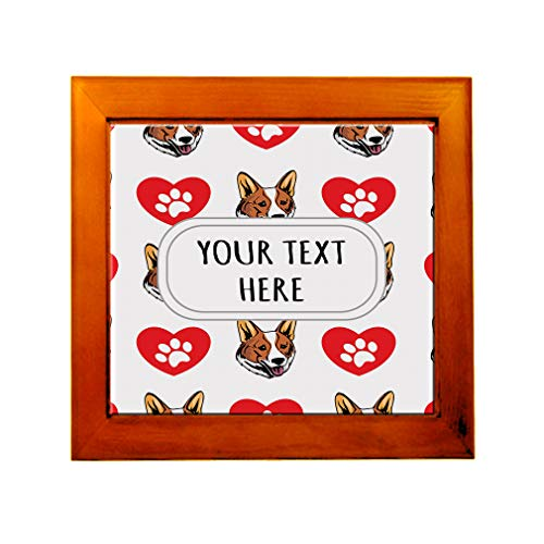 - Ceramic Tile in Wood Frame Custom Welsh Corgi Cardigan Dog Pattern A Adults