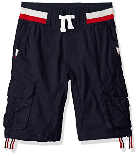 Southpole Boys' Big Twill Cargo Jogger Shorts in Basic Solid Colors, Navy Stripe, Large ()