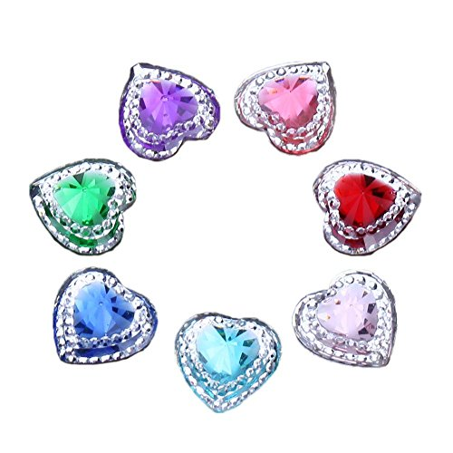 Whitelotous 50pcs 14mm Heart Resin Rhinestone Flatback Scrapbooking for Phone Wedding Craft DIY Accessories (Mix Color)