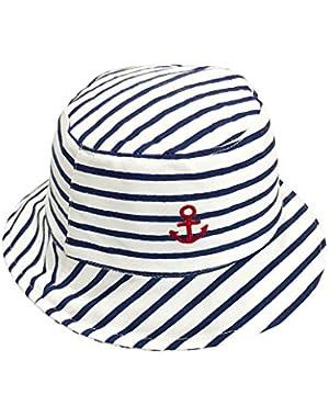 Children's 50+ SPF UV Protective Cotton Stripes Wide Brim Bucket Sun Hat