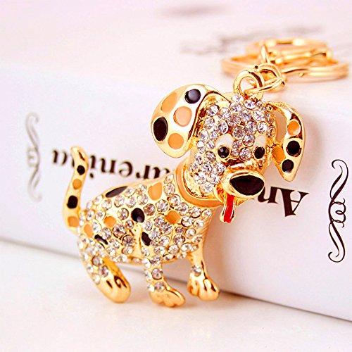 Jzcky Shzrp Lovely Dalmatians Shape Crystal Rhinestone Keychain Key Chain Sparkling Key Ring Charm Purse Pendant Handbag Bag Decoration Holiday Gift - Dalmatian Keychain