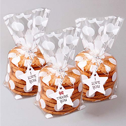 200 Pack White Polka Dot Candy Bags with Sliver twist ties, 8.1 x 5 x 1.8 inch Clear Cellophane Treat Bags for Cookie Candy Snack Wrapping Wedding Gift Chrismas Party Favor ()