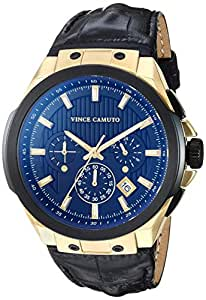 Vince Camuto Men's Multi-Function Gold-Tone and Black Croco-Grain Leather Strap Watch