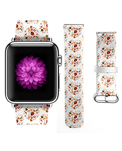 Apple Watch Band, Genuine Leather Strap Wrist Band for Apple Watch 38mm Turkey for (Fells Point Halloween)