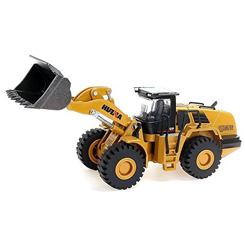 Geminismart 1/50 Scale Metal Diecast Four Wheel Loader Truck Toy Metal Construction Equipment Bulldozer Models Engineering Vehicle Alloy Models Toys for Kids and Decoration House (Mechanical Loader) (Die Cast Equipment)