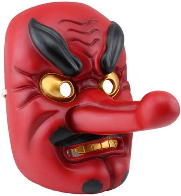 SASA Masque dhalloween Masque de th/é/âtre Masque de r/ésine Masque Bouddhiste Masque de samoura/ï Masque Japonais de Tengu Rouge